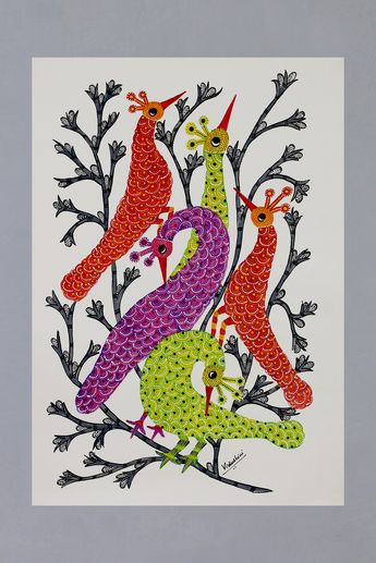 Gond painting, 'Peacock Family'