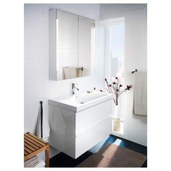 IKEA - STORJORM Mirror cabinet w/2 doors & light white