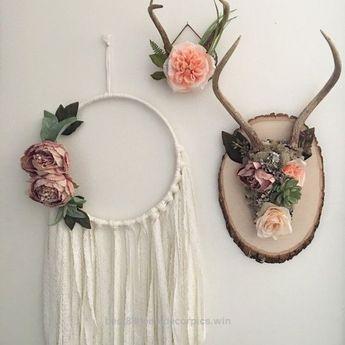 Floral antlers. Shabby chic wall decor. Bohemian by Gypsydaydream
