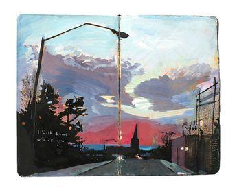 "Fine Art Print - Original New York Cityscape Painting from Artist Travel Journal - ""My Walk Home in"