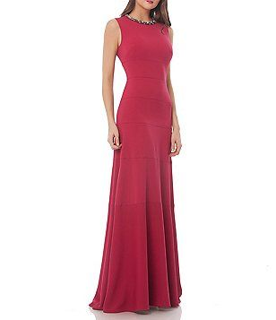 e527c3cc99ad89 Carmen Marc Valvo Infusion Beaded Necklace Gown