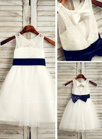 JJsHouse A-Line/Princess Tea-length Flower Girl Dress - Tulle/Lace Sleeveless Scoop Neck With Sash/B