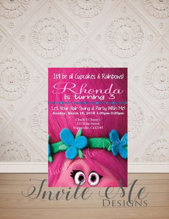 Princess Poppy Birthday Invitation Party Trolls Digital