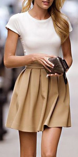 Fashion Solid Color High Waist Pleated Bust Skirt