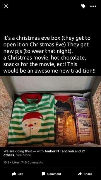We already do the Christmas pjs but adding all the rest of the goodies seems like such a cute idea