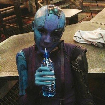 "Karen Gillan takes a water break while filming ""Guardians of the Galaxy"""