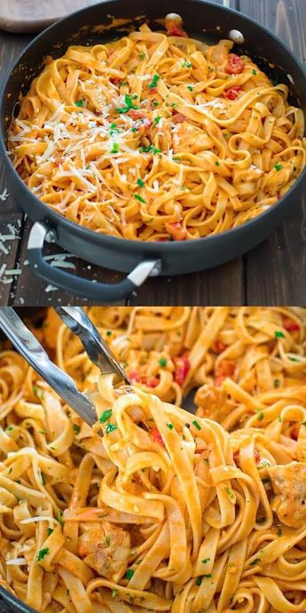 This elegant and creamy Pasta with Chicken and  Roasted Pepper Sauce is made in under 30 minutes and requires just 6 ingredients. Your guests and family members will love it! Make this easy pasta dinner today! #pasta #chicken #easydinner #dinner #fettuccine #recipeoftheday