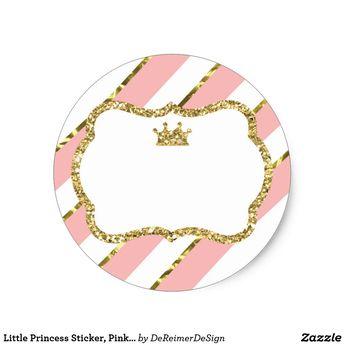 Little Princess Sticker, Pink, Faux Glitter Classic Round Sticker | Zazzle.com
