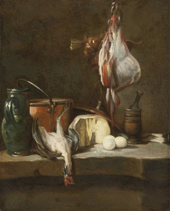 Still life with a ray-fish, a basket of onions, eggs, cheese, a green jug and a copper pot, with a mortar and pestle on a stone ledge by Jean-Baptiste-Siméon Chardin