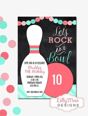 bowling birthday party invitation ticket style any age or