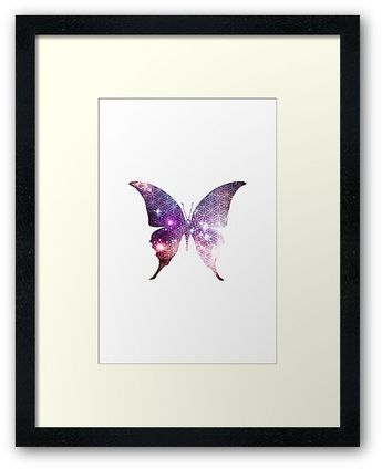 'The Sacred Nebula Butterfly, Sacred Geometry Space Art' Framed Print by ChaosEmporium