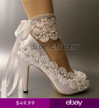 "93bd445822b8c1 su.cheny 3 4"" heel white ivory satin lace ribbon open toe Wedding Bridal"