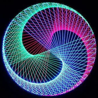 Stringart UV Deko   Goa Psy Trance Party   Schwarzlicht Fadenkunst   Kreis  D3S