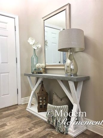 Stunning handmade rustic farmhouse entryway table. Just the right accent piece t