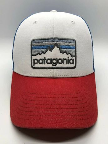 e2249cde Patagonia Cap Hat Adult Trucker Mesh Snapback Poly Cotton White Red Blue
