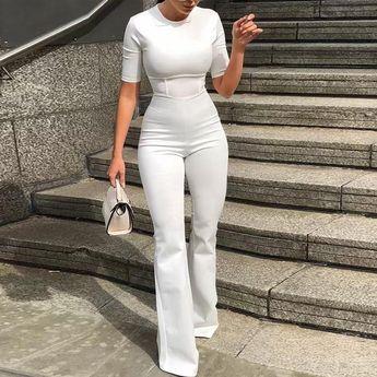 Short sleeve bell-bottom Women white bodycon jumpsuit #VezzyWorld 👽🖖🏾