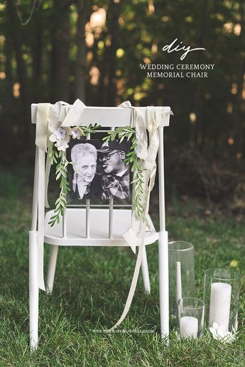 How to make a simply beautiful DIY wedding ceremony memorial chair using your Cricut #cricut #weddingceremony #cricutmade #weddingideas #diywedding