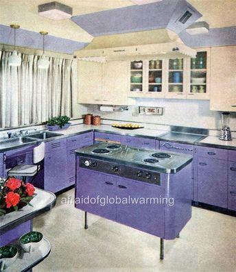 Details about Print. 1950s - 60s. Purple Kitchen