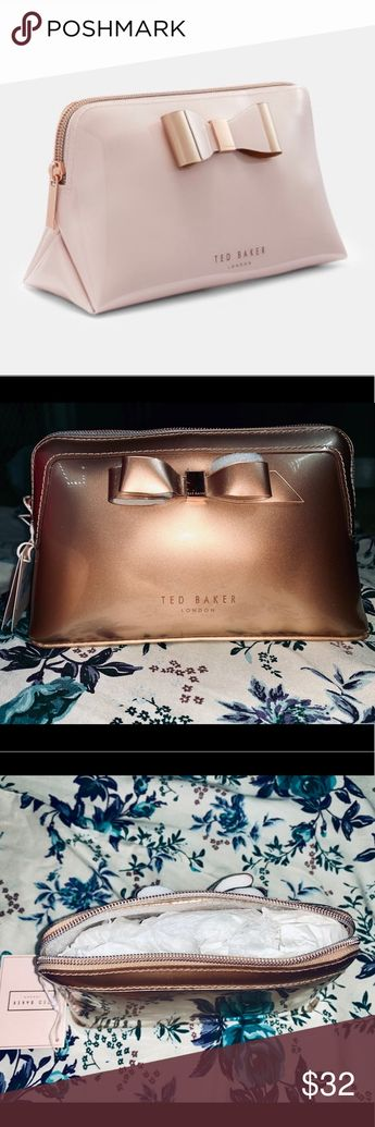 Rose Gold Ted Baker Vivekah Bow Makeup Bag Brand New With Tags, Ted Baker Vivekah Bow Makeup Bag. The color is rose gold. I have a matching pencil case listed as well. The makeup bag and pencil case would be a perfect set for cosmetics and eyeliners, brushes, mascara...etc.   🛍 Add both to your bundle and I'll discount the price for the set! Ted Baker London Bags Cosmetic Bags & Cases