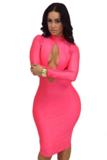 e24367050f3 Pink Oval Hollow-out Front Sexy Bodycon Dress