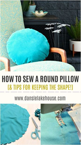How to Sew a Round Pillow - With Tips for Keeping the Shape Round While You Sew. Learn How to Sew a Circle - great tips and tricks. Actually a Really Easy DIY Throw Pillow Project (no zipper pillow!) from Dans le Lakehouse #sewing #pillow #velvet #diyhomedecor #homedecor
