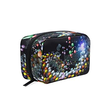 Makeup Bag Portable Travel Cosmetic Bags Design Made Of Chemical Icons Fractal Graphics And Elements To Serve As Backdrop For Project Storage Bag for Women Skincare Makeup Train Case