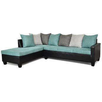 Red Barrel Studio Tilman Sectional Upholstery: Aqua / Black