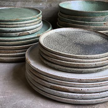 "Lisa Russell on Instagram: ""Wheel thrown wares #lunaceramics #handmade #wheelthrown #studioceramics #plates"""