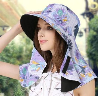771f7f9f069 Flower sun protection hats for women summer wide brim uv protection effect