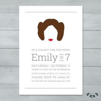 Star Wars Princess Leia Birthday Invitation Girl Star Wars