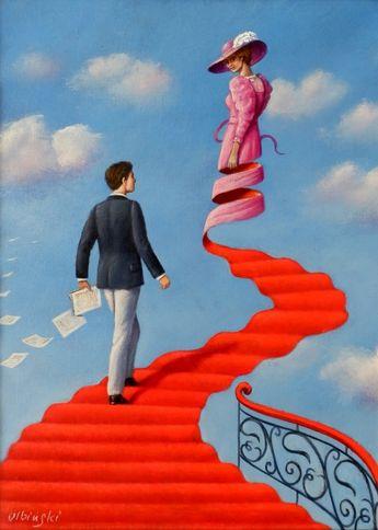 ArtGalery ° PERSONALART.PL tytuł/title: Grand Hotel author: Rafał Olbiński Oil, acrylic on canvas, size: 35 cm x 26 cm, 2014 r. Size in frame: 48 cm x 39 cm. Gallery personalart.pl/Rafal-Olbinski