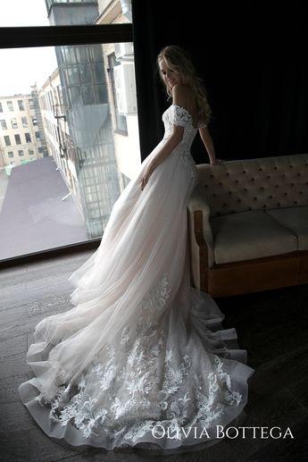 fe1fc0bb0f89a Off the shoulder wedding dress Ivia by Olivia Bottega. Open back wedding  dress. Lace