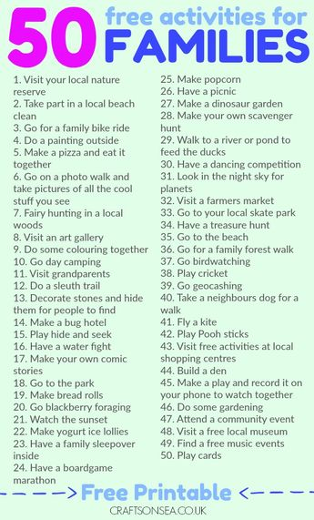 50 Free Activities for Families To Try This Weekend!