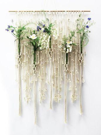 Macrame Wall Hanging, Macrame Hanging, Plant Hanger Wall, FLOWER WALL, Macrame Wall Art, Wedding Decor, Test Tube Holder, Wall Hanging