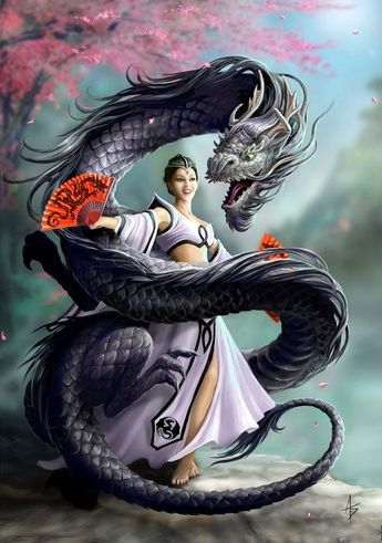(Product Code: rAN63) Dragon Dancer Card by Anne Stokes, Anne Stokes Eastern Promise Cards - EnchantedJewelry - 1