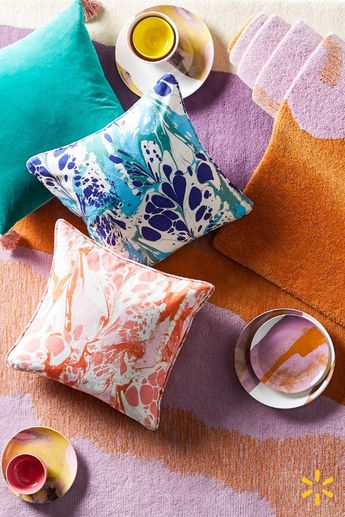 Pile on the pattern! Discover a range of velvet and printed pillows in saturated colors and pastel hues from Drew's new home collection.