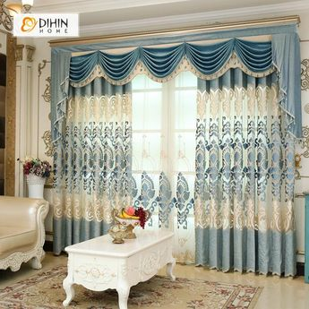 DIHIN HOME Blue Pattern Luxury Exquisite Embroidered Valance ,Blackout Curtains Grommet Window Curtain for Living Room ,52x84-inch,1 Panel