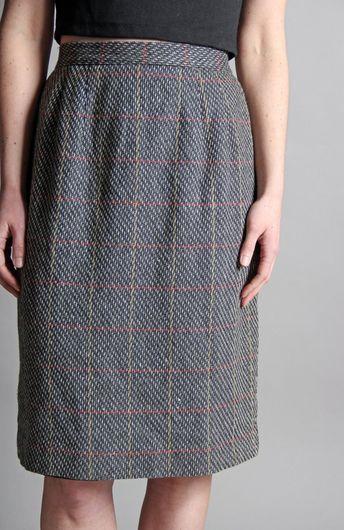 f86fad938e Vintage Studious Plaid Skirt - Straight Knee Length Midi Fall Collegiate  Gray Grey Red Yellow 1970s