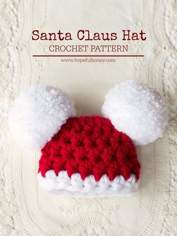 Baby Santa Claus Pompom Hat - Free Crochet Pattern