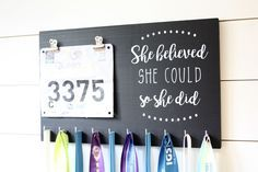 Race Bib & Medal Holder - She Believed She Could So She Did