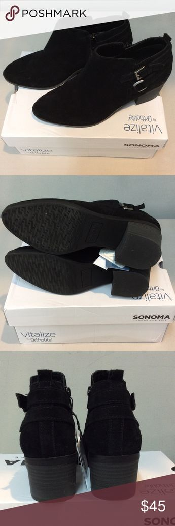 """cf87e32d44e7 NWT SONOMA """"Sonya"""" Ankle Boots NWT size 8 in black suede. No wear"""