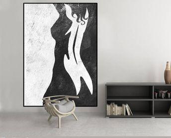 résumé femme nue peinture, peinture abstraite, peinture acrylique murale noir et blanc décor, grand art abstrait,