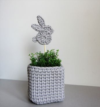 Crochet grey Easter bunny topper Easter decoration bunny gift Spring decor trends