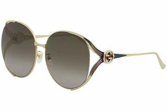a4a38389e9f Details about Authentic Gucci Oversized Sunglasses Women s Gold Blue Metal  Frame Gradient Lens