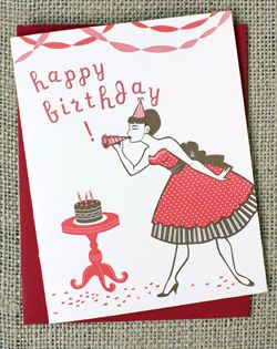 Happy Birthday Party Girl Letterpress Card