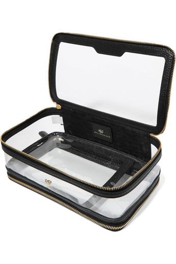 Anya Hindmarch - Inflight Leather-trimmed Perspex Cosmetics Case - Black