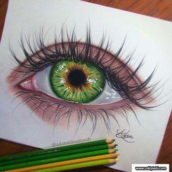Karakalem ile Çizilmiş Bayan Gerçek 3d Renkli Göz Çizimleri ve Teknikleri