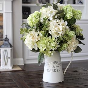 Nice Hydrangeas in a white metal pitcher. So pretty!!!! The post Hydrangeas in a white metal pitcher. So pretty!!!!… appeared first on Dol Decor .