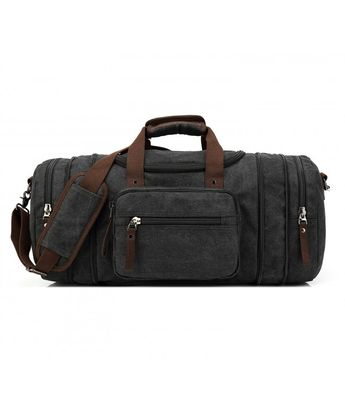 Oversized Canvas Travel Tote Luggage Weekend Duffel Bag - Black -  CX11WB91NHT e1cacf507bdb3