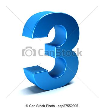 Number Three color blue icon - csp37552395